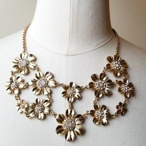 Jewelry - Gold Daisy Flower Rhinestone Pink Opal Necklace